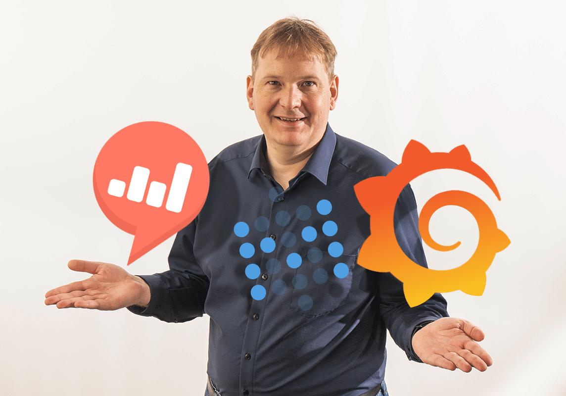 Vorstand Arnulf Koch mit den Logos von Redash, Grafana und Metabase